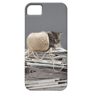 Kitten sitting on pile of newspapers iPhone 5 cases