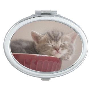 Kitten Sleeping In A Bowl Vanity Mirror