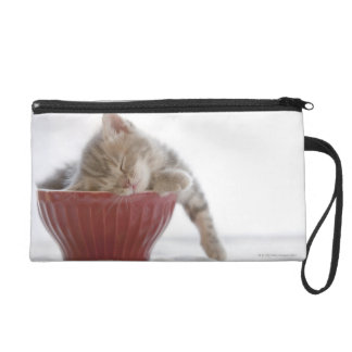 Kitten Sleeping in Bowl Wristlet Purses