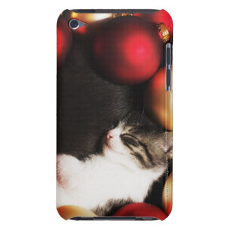 Kitten sleeping in decorations barely there iPod covers