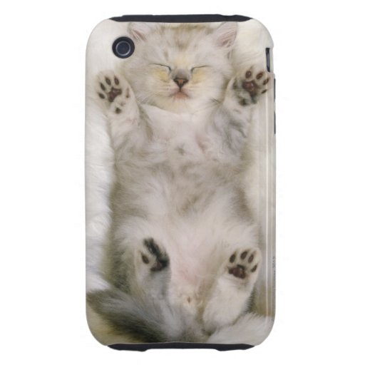 Kitten Sleeping on a White Fluffy Carpet, High iPhone 3 Tough Cover