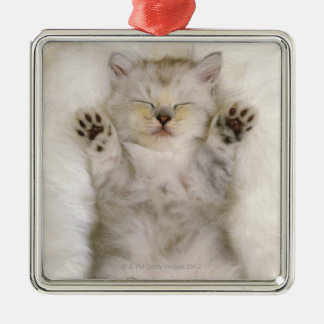 Kitten Sleeping on a White Fluffy Carpet, High Christmas Ornament