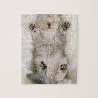 Kitten Sleeping on a White Fluffy Carpet, High Jigsaw Puzzle