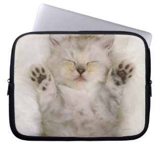 Kitten Sleeping on a White Fluffy Carpet, High Laptop Sleeve