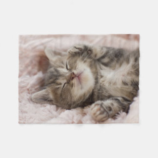Kitten Sleeping On Towel Fleece Blanket