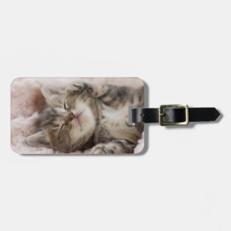 Kitten Sleeping On Towel Luggage Tag