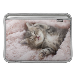Kitten Sleeping on Towel MacBook Sleeve