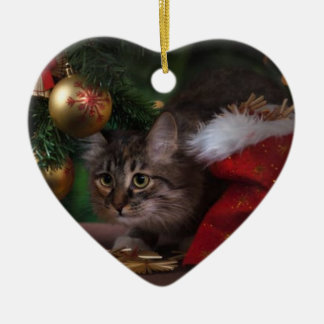 KITTEN UNDER CHRISTMAS TREE HEART ORNAMENT. CHRISTMAS ORNAMENT