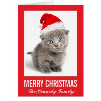 Kitten wearing a Santa hat Card