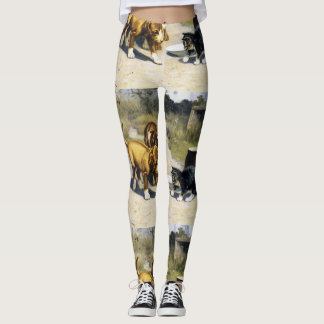 Kitten with 2 puppies vintage painting leggings