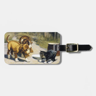 Kitten with 2 puppies vintage painting luggage tag