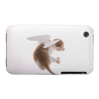 Kitten with angel wings attached to back, rear Case-Mate iPhone 3 cases