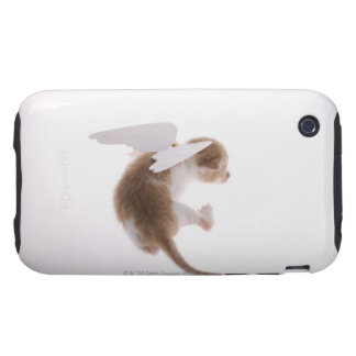 Kitten with angel wings attached to back, rear iPhone 3 tough covers