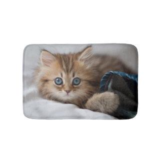 Kitten With Blue Eyes Playing Bath Mat