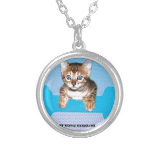 kitten with dumbbell blueJP jpg Necklace