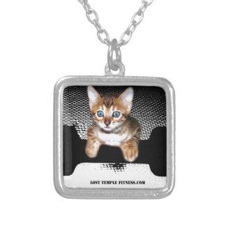 kitten with dumbbell jp BW jpg Pendant