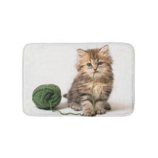 Kitten With Green Yarn Bath Mat
