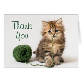 Kitten With Green Yarn Card
