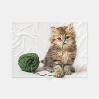 Kitten With Green Yarn Fleece Blanket