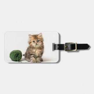 Kitten With Green Yarn Luggage Tag