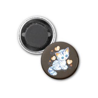 Kitten with Hearts & Swirls Brown BG 3 Cm Round Magnet