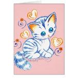 Kitten with Hearts & Swirls Card