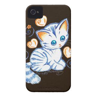 Kitten with Hearts & Swirls Dark BG iPhone 4 Covers