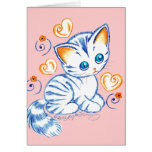 Kitten with Hearts & Swirls Greeting Card