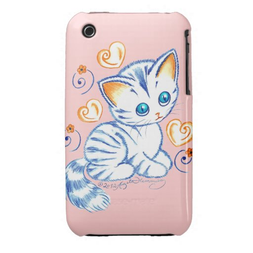 Kitten with Hearts & Swirls iPhone 3 Covers