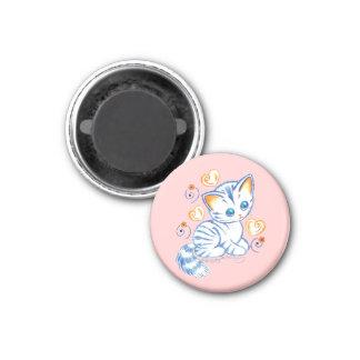 Kitten with Hearts & Swirls 3 Cm Round Magnet