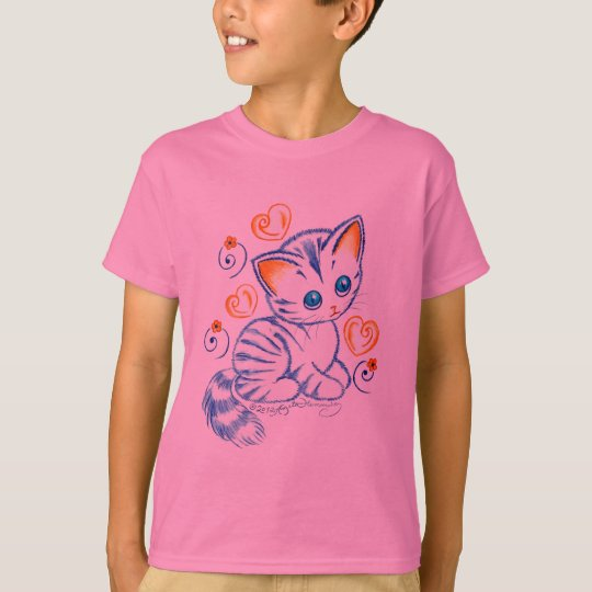 Kitten with Hearts & Swirls T-Shirt