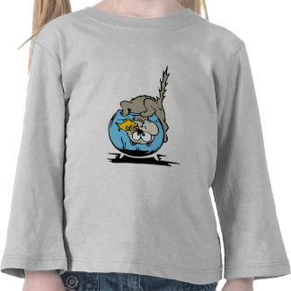 Kitten with his head  in a fishbowl t shirt