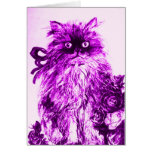 KITTEN WITH PURPLE ROSES Birthday Greeting Card