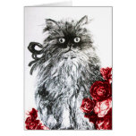 KITTEN WITH RED ROSES ,Black and White Greeting Card