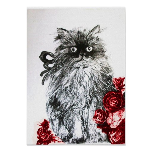 KITTEN WITH ROSES ,Black Red and White Print