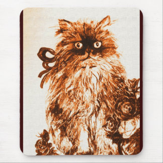 KITTEN WITH ROSES ,Brown and White Mouse Pad