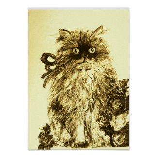 KITTEN WITH ROSES ,Brown Yellow and White Poster
