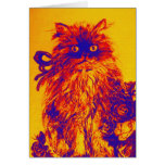 KITTEN WITH ROSES ,Orange Yellow.Blue Purple Greeting Card