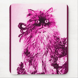 KITTEN WITH ROSES ,Pink Fuchsia White Mouse Pad