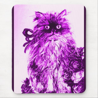 KITTEN WITH ROSES ,Purple Violet and White Mouse Pad