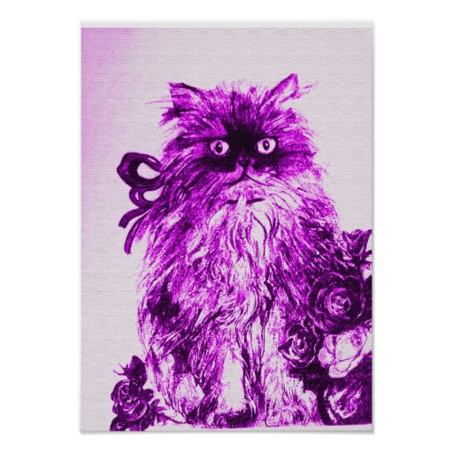 KITTEN WITH ROSES ,Purple Violet and White Print