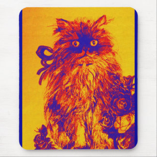 KITTEN WITH ROSES ,Yellow Orange Blue Mouse Pad