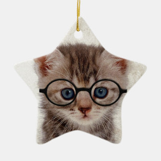 Kitten with Round Glasses Ceramic Star Decoration