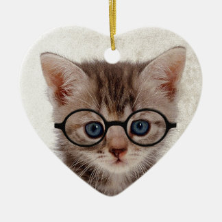 Kitten with Round Glasses Christmas Ornament