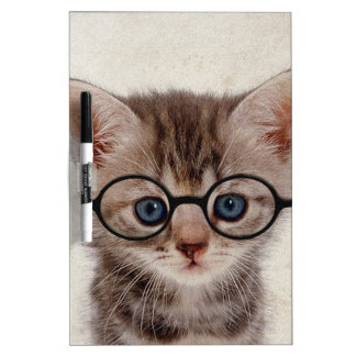 Kitten with Round Glasses Dry Erase Board