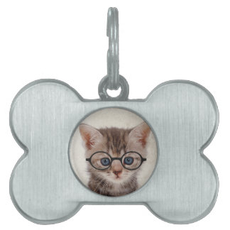Kitten with Round Glasses Pet Name Tag
