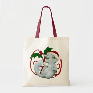Kitten with santa hat budget tote bag