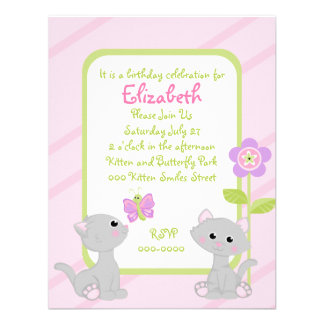 Kittens and a Butterfly Custom Announcement