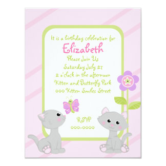 Kittens and a Butterfly 4.25x5.5 Paper Invitation Card
