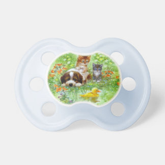 Kittens and pup on grass. baby pacifiers